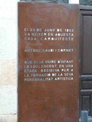 Placa casa Gaudí Reus